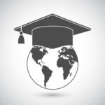61325003 - graduation cap or mortar board on top of world globe. vector education icon